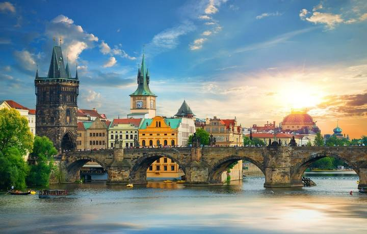 Tha Charles Bridge in Prague at summer day
