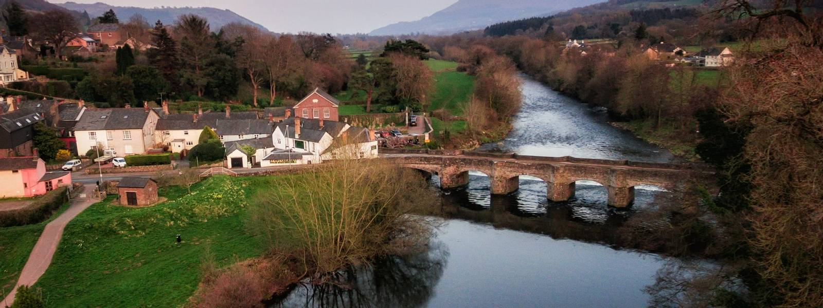 An aerial view of the Welsh Town Crickhowell and River Usk