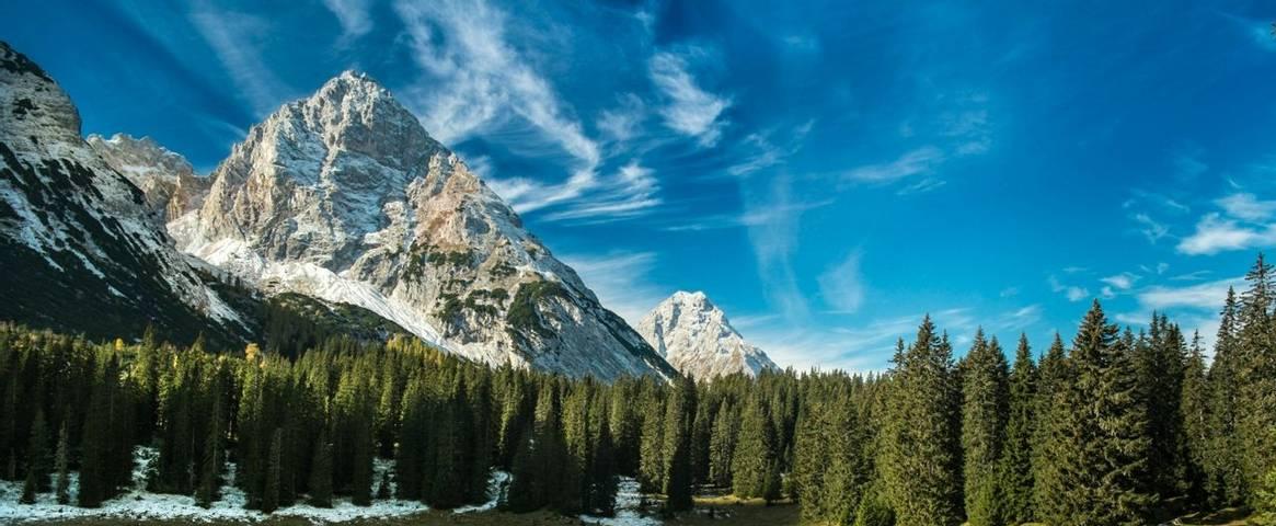 Mountains tower above Austria's Seefeld Plateau
