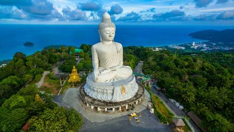 aerial photography white great Phuket's big Buddha in blue sky. Phuket's Big Buddha is one of the island's most important …