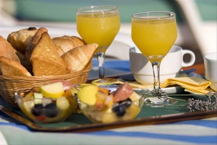 Breakfast at our hotel in Venaco, Corsica