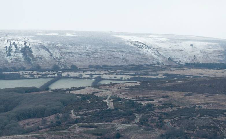 View from Bossington with first snow on Dunkery Beacon