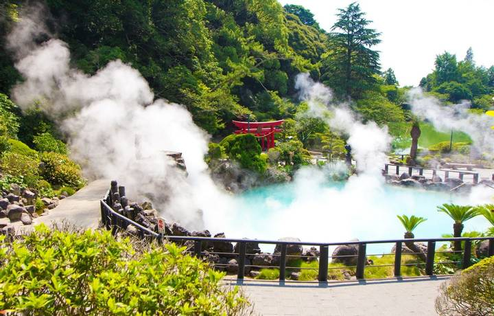 One of the eight hells (Jigoku), multi-colored volcanic pool of boiling water in Kannawa district in Beppu, Japan.