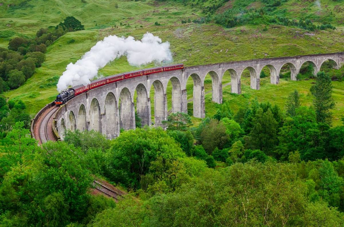 Detail of steam train on famous Glenfinnan viaduct, Scotland