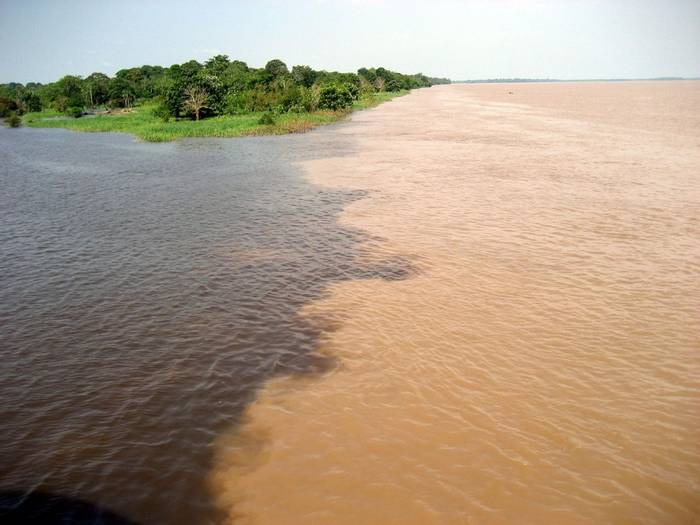 Meeting of the Rio Amaturá (black water) and Rio Solimoes (muddy water), Amazon.