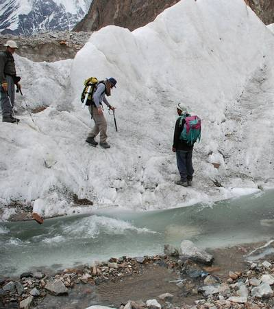 Crossing glacial river