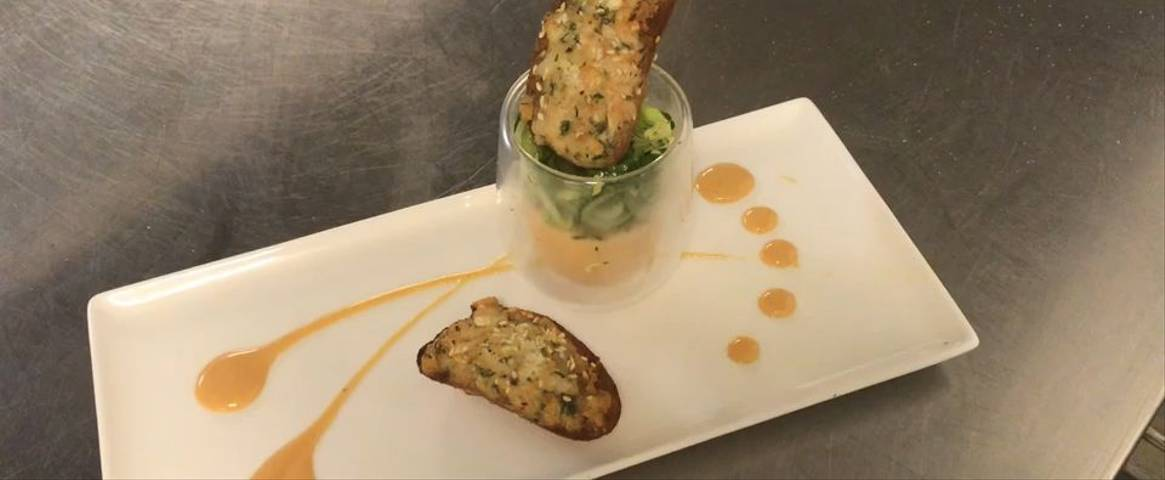 Salmon Parfait and Homemade Prawn Toast