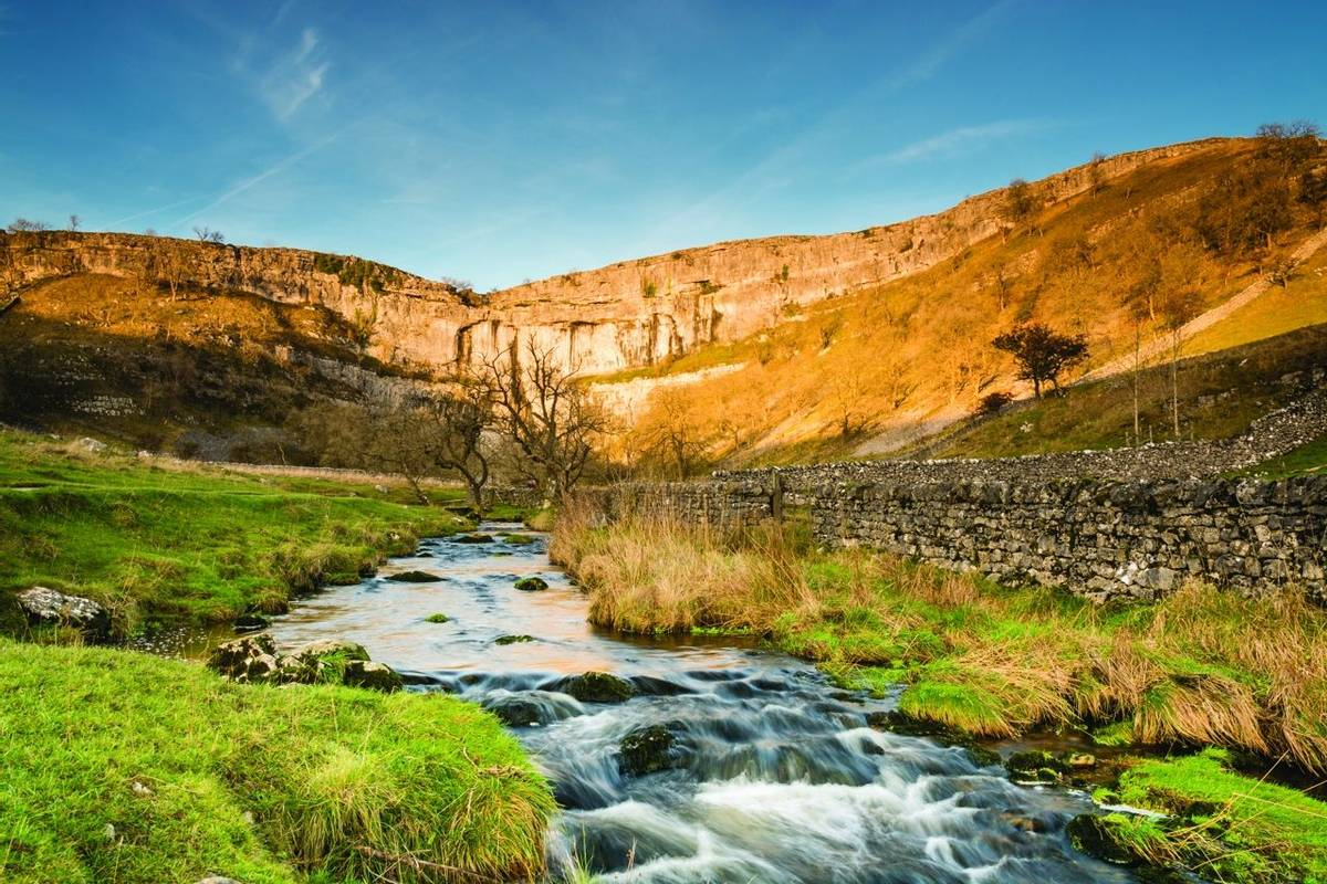 Malham Beck flows from Malham Cove