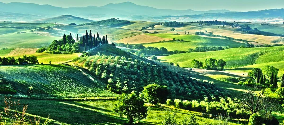 Landscape view of Val d'Orcia, Tuscany, Italy. UNESCO World Heritage Site