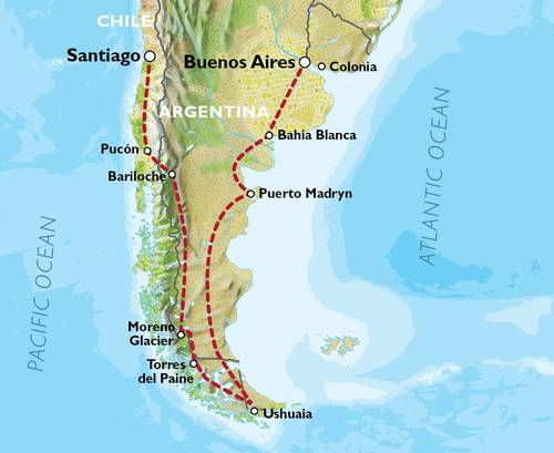 SANTIAGO to BUENOS AIRES (31 days) Patagonian Adventures