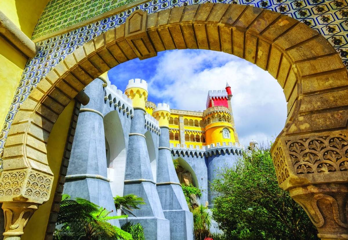 Pena palace, Sintra, Portugal, view through the entrance arch