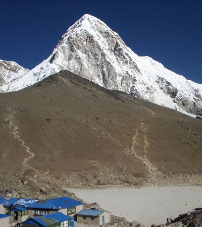 Kalapatar and Gorakshep with Mt Pumori behind