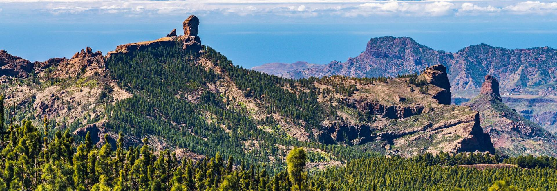 Colorful and scenic View Of Roque Nublo And El Teide - Tejeda, Gran Canaria, Canary Islands, Spain