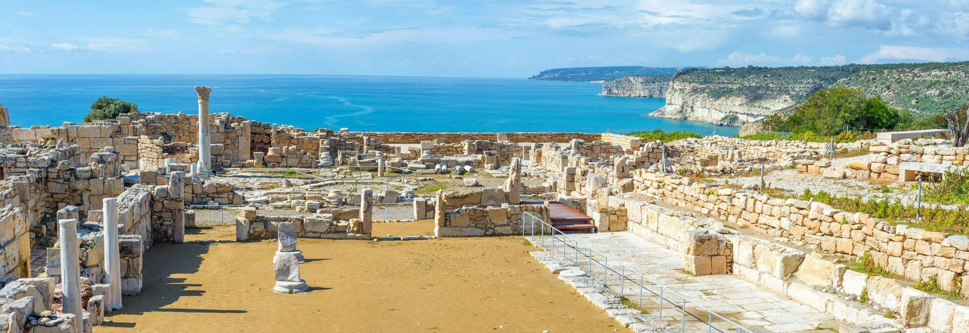 Panoramic view of Kourion archaeological site. Limassol District, Cyprus