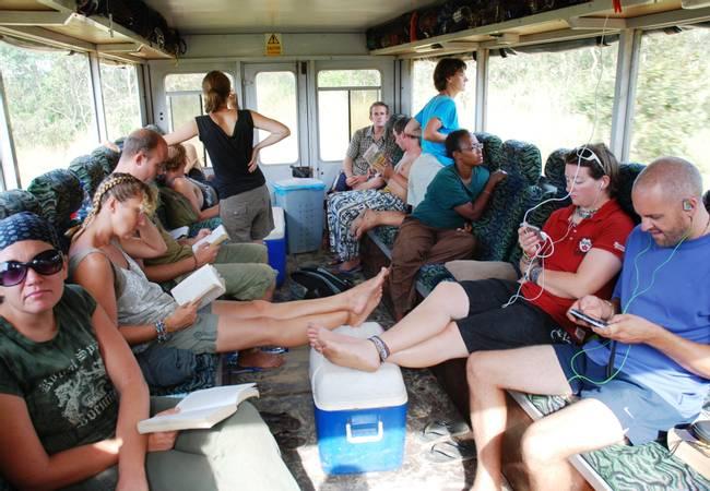 Inside an African overland truck