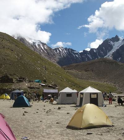 Khuspang camp after crossing Gondogoro La (4,690m)