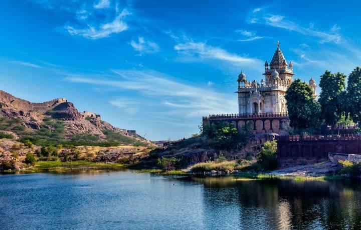 Indian landmark Jaswanth Thada mausoleum in Jodhpur, Rajasthan, India