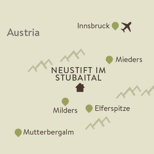 Stubai Alps Family Walking Itinerary Map