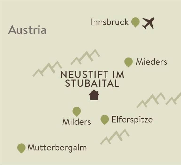 Stubai Alps Family Walking Itinerary Map