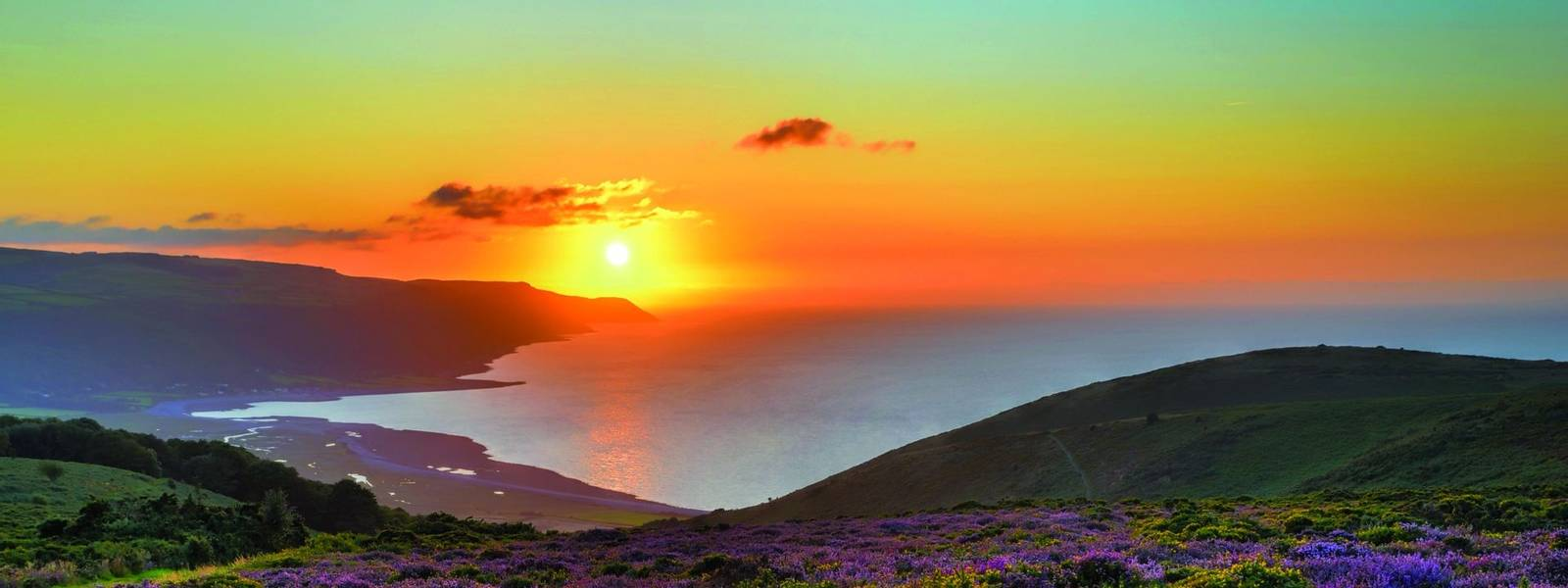 Sunset over Porlock Bay, Exmoor, England