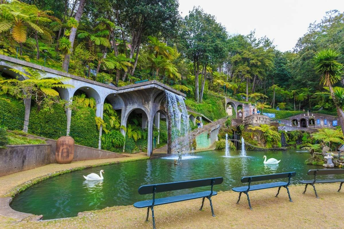 Monte tropical garden of Madeira island in summer season, Portugal