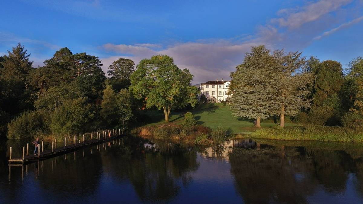 Derwent Bank hotel and Derwent Water area. Stills from drone.