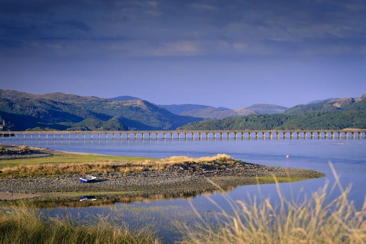 Barmouth Bridge on the Mawddach Estuary Barmouth Gwynedd Wales
