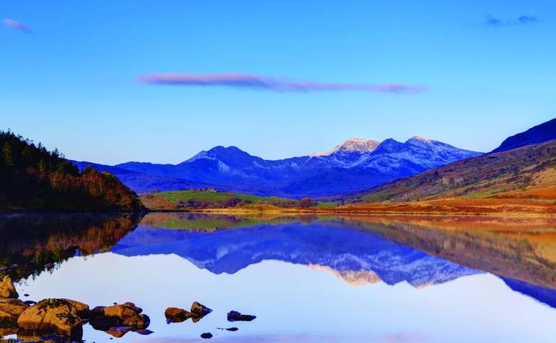 Lake At Capel Curig With Snowdon Behind