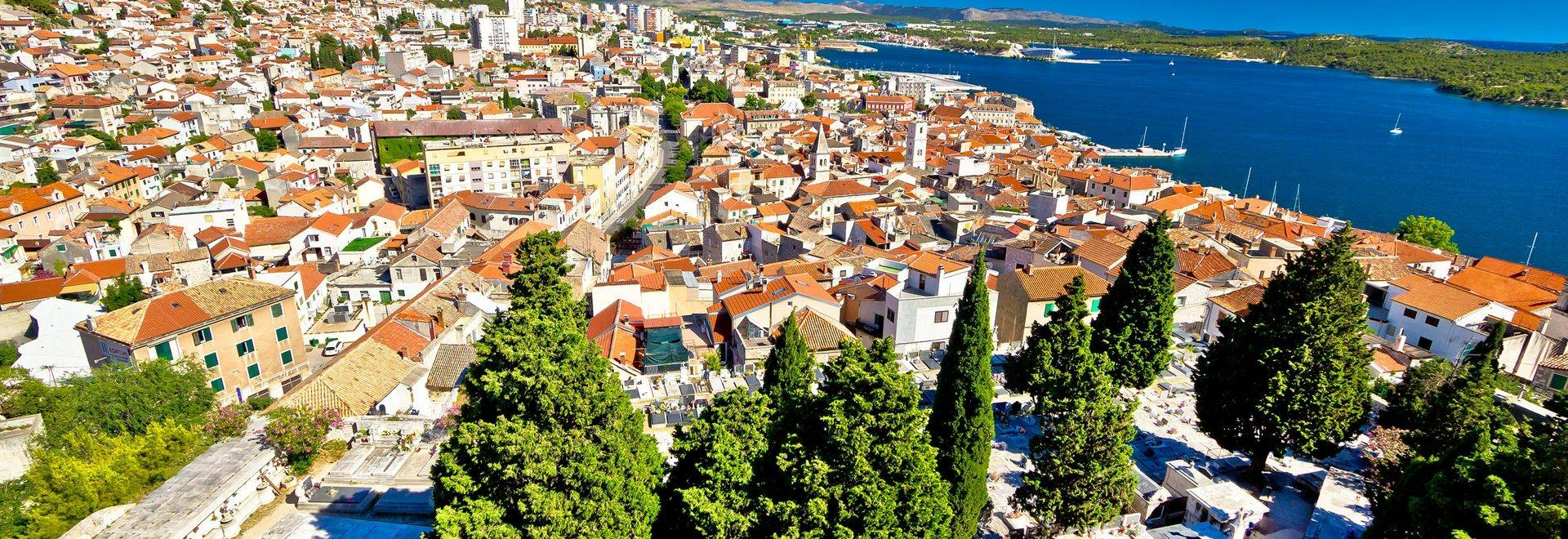 Shutterstock 334347884 Adriatic Town Of Sibenik Aerial View