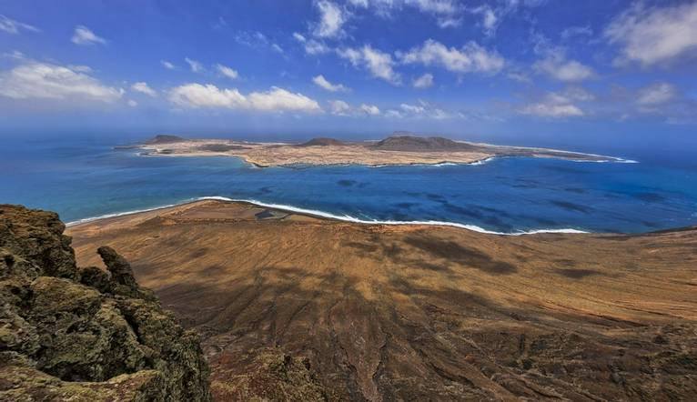 The 'La Graciosa' Island viewed from the 'Mirador del Rio' Lookout in Lanzarote