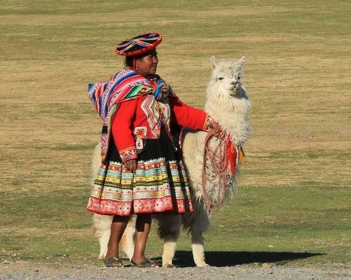 Peruvian woman with Llama (Robert Davidson).JPG