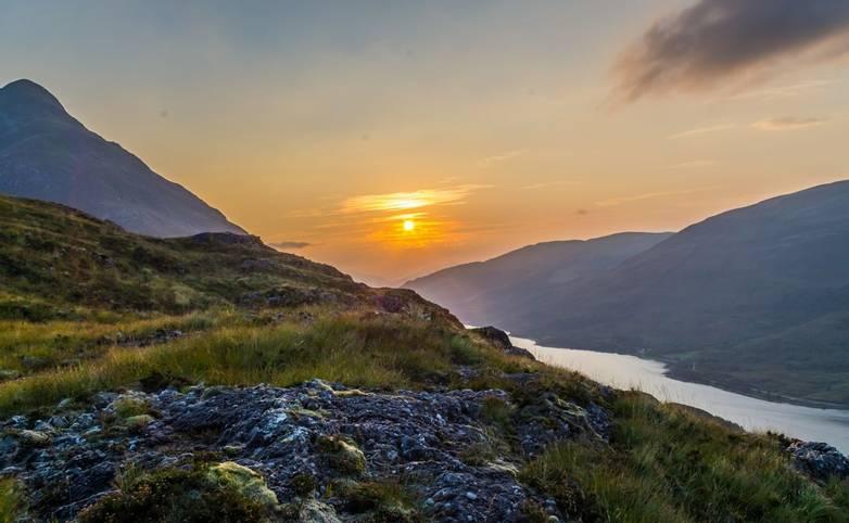 Beautiful sunset at Loch leven in Scotland, Great Brittain