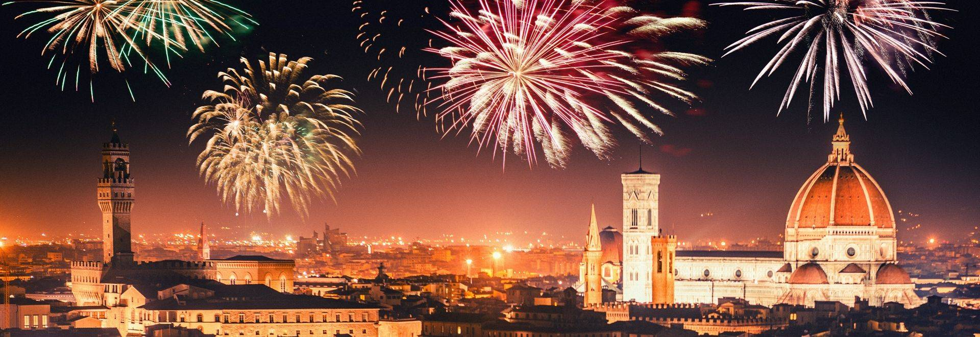 Fireworks at New Year in the Tuscan city of Florence, Italy