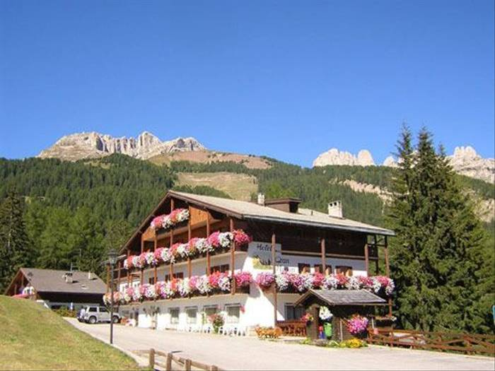 Our hotel and the Dolomites