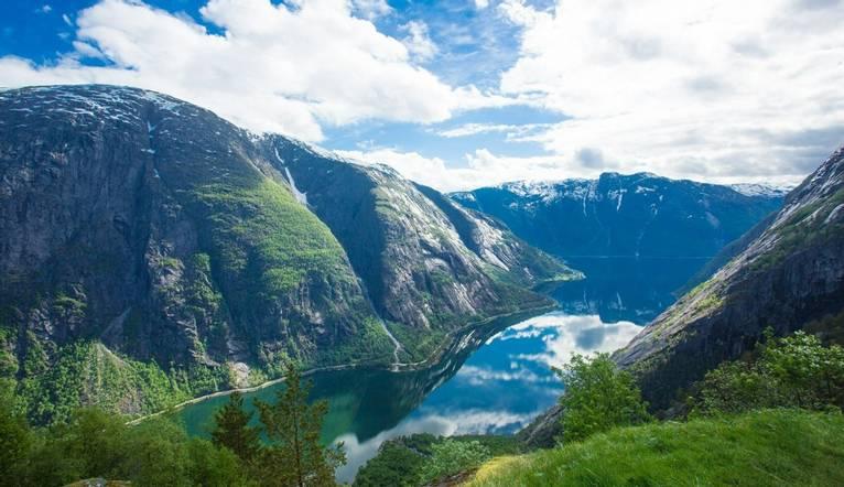 View to Eidfjord from Kjeasen farm, Norway