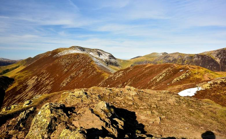 Viewing the Coledale Horseshoe from Causey Pike