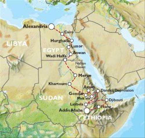 ADDIS ABABA to ALEXANDRIA (52 days) Africa Explored - A One Off Expedition