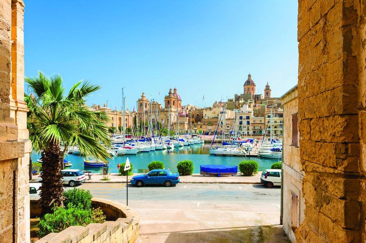 Street and Marina in Senglea, one of the Three Cities in the Grand Harbour area of Malta.