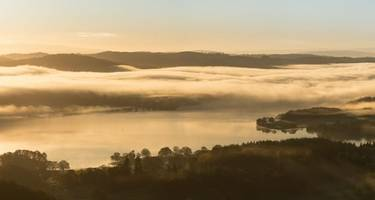 Sunrise over Windermere from Loughrigg Fell in the English Lake District