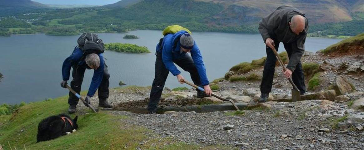 Volunteers helping keep pathways open for walkers in the Lake District