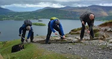 Volunteers helping keep pathways open for walkers in the Lake District