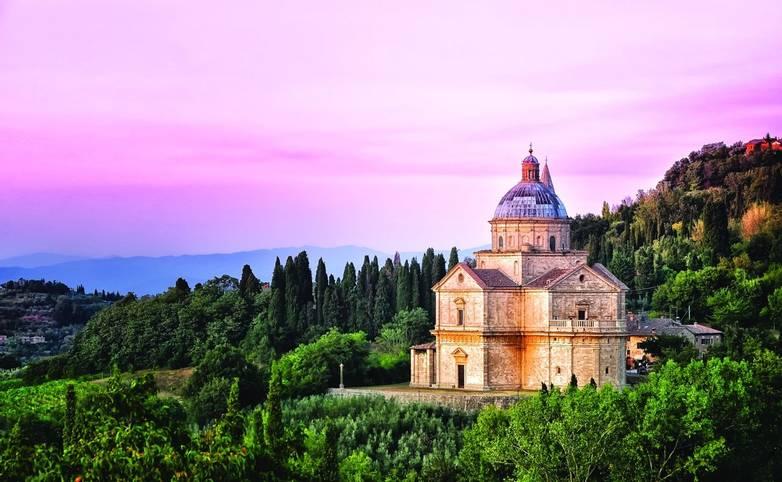San Biagio cathedral at sunset, Montepulciano, Italy