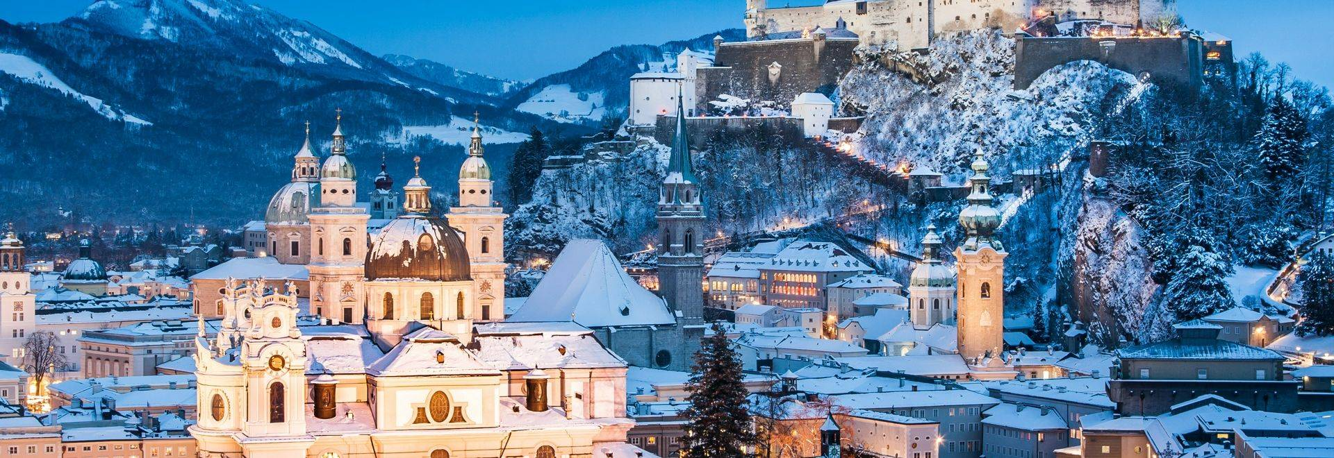 Beautiful view of the historic city of Salzburg with Festung Hohensalzburg in winter, Salzburger Land, Austria.
