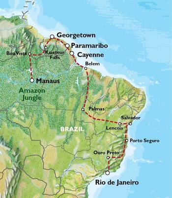 RIO to MANAUS via THE GUIANAS (57 days) Tropics of South America