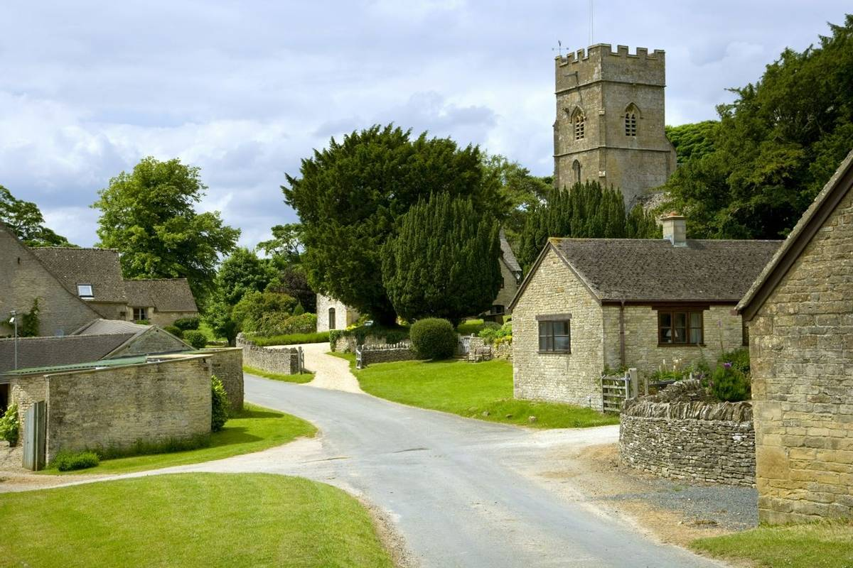 The tiny rural Cotswold hamlet of Hampnett, Gloucestershire, UK