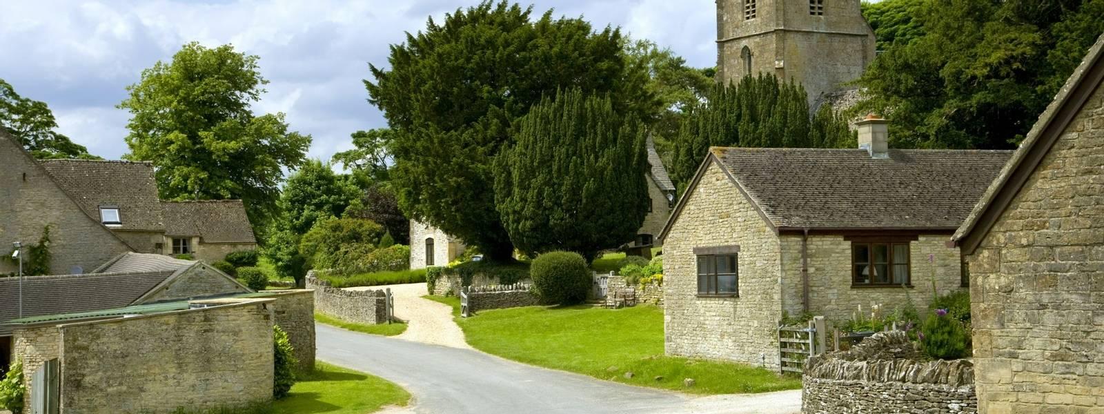 The tiny rural Cotswold hamlet of Hampnett, Gloucestershire, UK