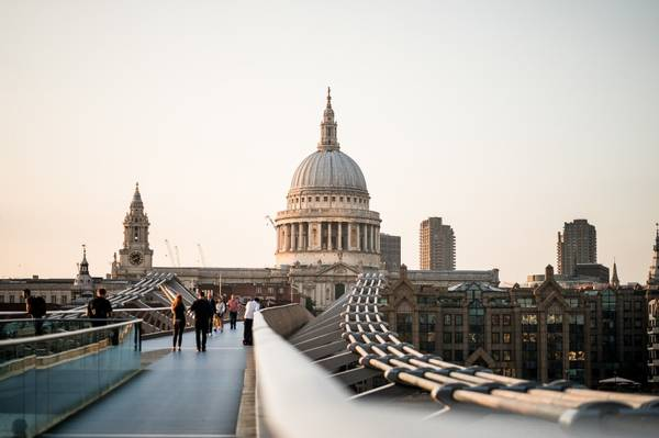 The bridge in front of St Paul's cathedral