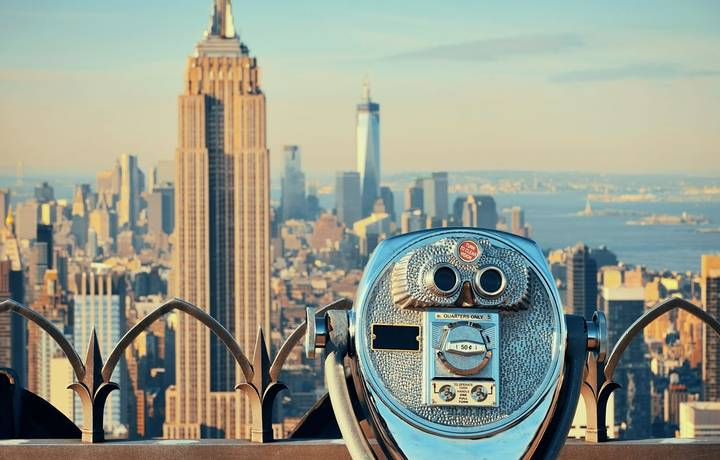 NEW YORK CITY, NY - JUL 11: Empire State Building and skyline on July 11, 2014 in New York City. It is a 102-story landmark …