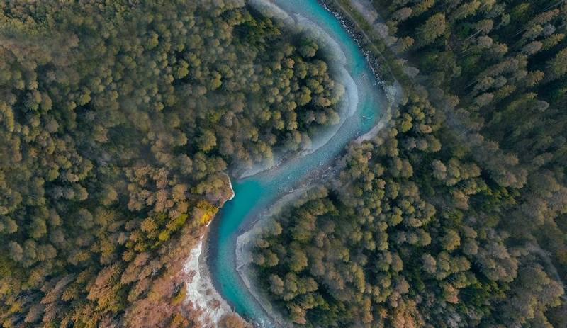 Drone image over river