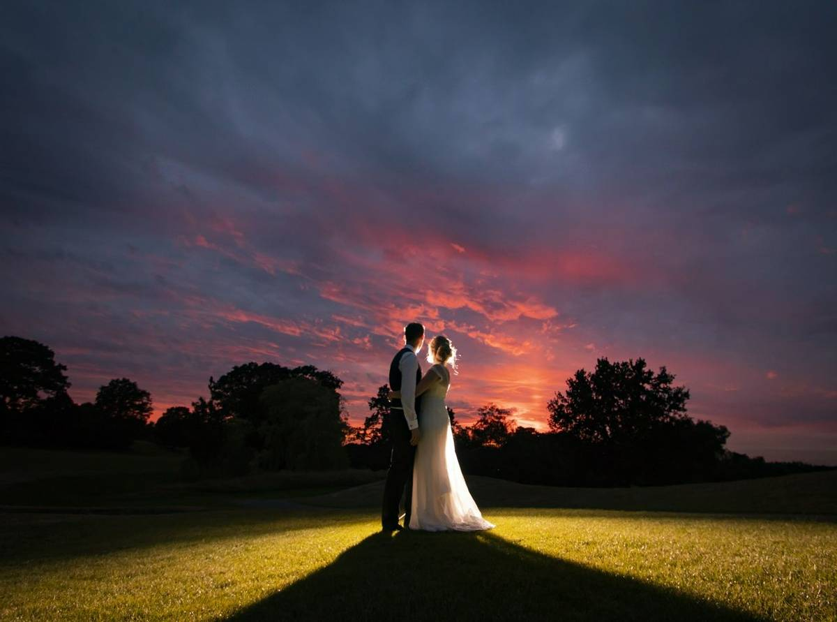 Bridal couple at sunset